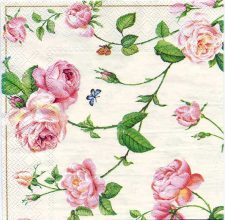 Decoupage Paper Art Napkin - Rambling White Roses