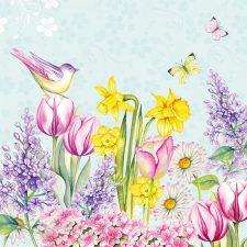 Bird in the spring garden