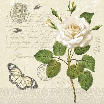 Paper Napkins White Rose Butterfly Love Letter