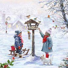 kids in the winter birdhouse