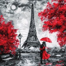 Romantic scene in Paris