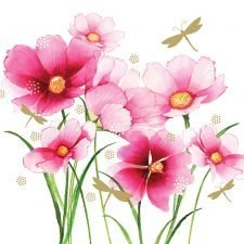 pink flower with dragonfly