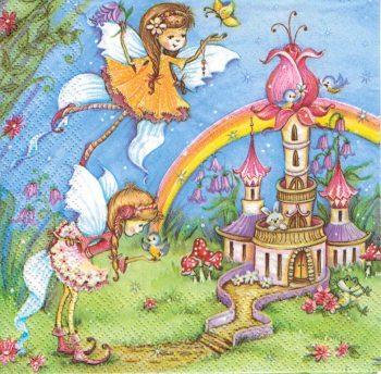 fairy in rainbow garden