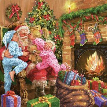 Christmas Napkins Children Kissing Santa Claus