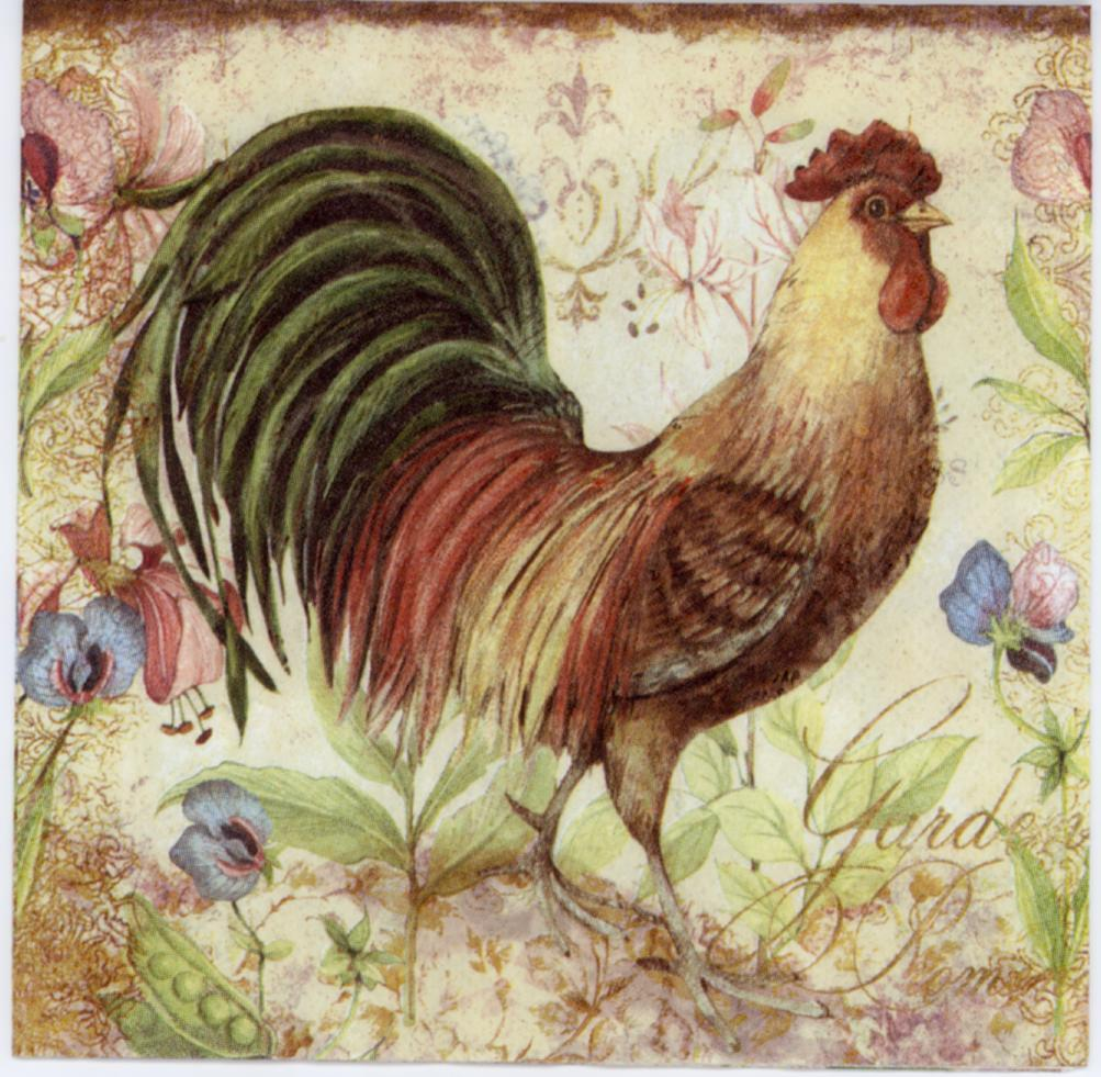 Decoupage Napkins Of Garden Rooster Napkins Decorative