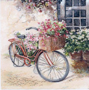 Paper Napkins Bike Basket Flowers