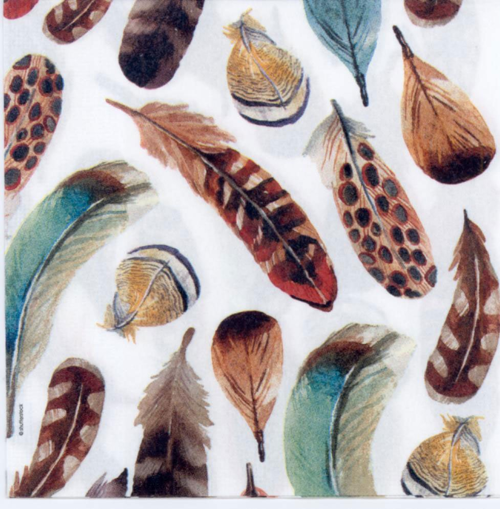 Decoupage Paper Bird Feathers Napkins Colorful Feathers