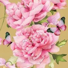Decorative Paper Napkins Pink Peonies in Watercolor