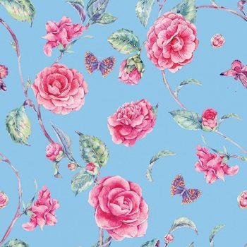 Decorative Paper Napkins of Pink Roses on Blue