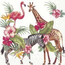 Decorative Paper Napkins | Tropical Animals | Giraffe Zebra Flamingo