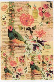 Italian Rice Paper Sheet | Red Rose & Robin