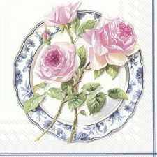 Decoupage Napkin | Rose Trio on a China Plate