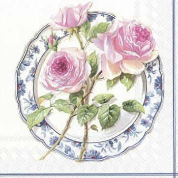 Decoupage Napkin | Rose Trio on a China Plate