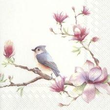 Decoupage Napkins | Bird & Pink Magnolia Decoupage Paper | Chiarotino