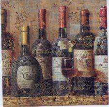 Decoupage Napkins of Bordeaux Wine Bottles