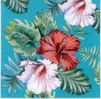 Decoupage Napkins | Hibiscus Flowers on Blue