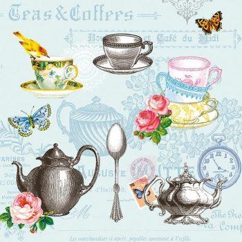 Decoupage Napkins | Tea Roses Butterflies Bird