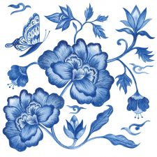 Decoupage Paper | Blue Peonies Napkins