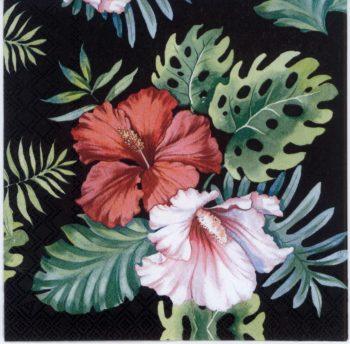 Decoupage Paper | Hibiscus Flowers on Black