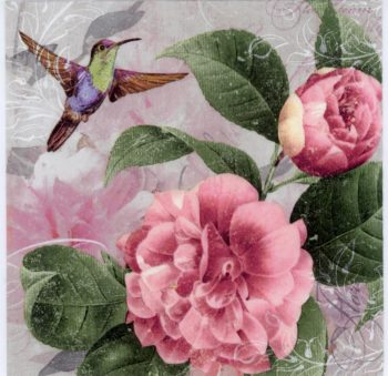 Decoupage Paper Hummingbird Pink Roses Napkin