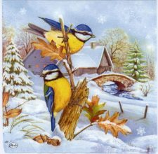 Decoupage Paper Napkins | Blue Tit Birds in Snow