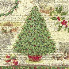 Decoupage Paper Napkins | Christmas Tree & Holly