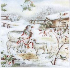 Decoupage Paper Napkins of Lambs in Snow