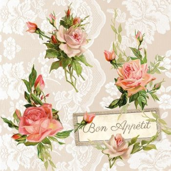 Decoupage Paper Napkins | Pink Roses & Lace