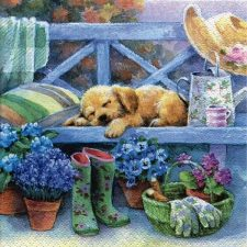 Decoupage Paper Napkins | Sleeping Puppy on Garden Bench