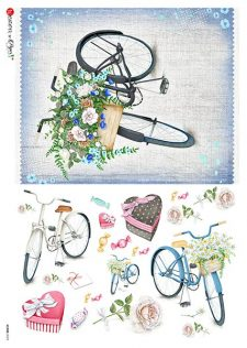 Decoupage Rice Paper   Bikes with Flower Baskets