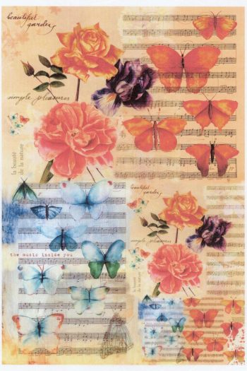 Decoupage Rice Paper | Butterflies & Roses & Music