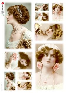 Decoupage-Rice-Paper-Classic-Photos-Young-Ladies