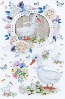 Decoupage Rice Paper | Duck & Butterflies & Flowers