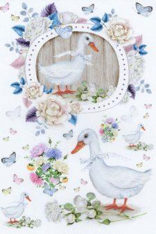 Decoupage Rice Paper   Duck & Butterflies & Flowers