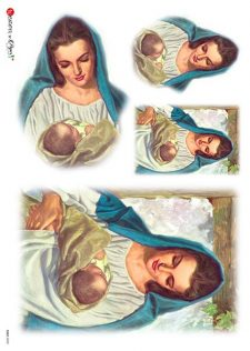 Decoupage Rice Paper | Mary Holding Baby Jesus