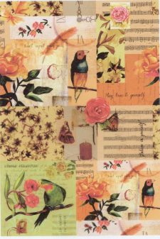 Decoupage Rice Paper | Music & Birds & Roses