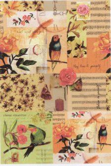 Decoupage Rice Paper | Music & Birds & Roses