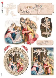 Decoupage Rice Paper l Nativity w Angels & Magi