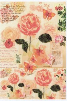 Decoupage Rice Paper | Pink Roses & Butterflies