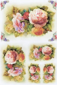 Decoupage Rice Paper Roses in Watercolor