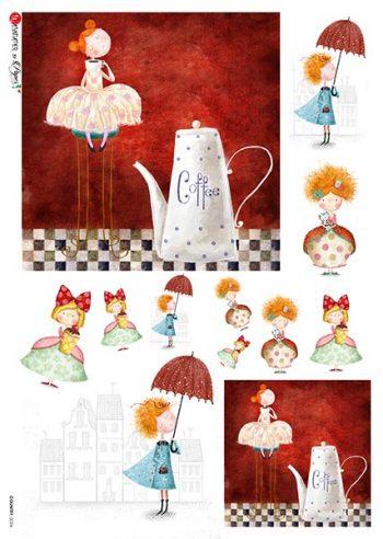 Decoupage Rice Paper Sheet   Cartoon Little Girls & Coffee Pot