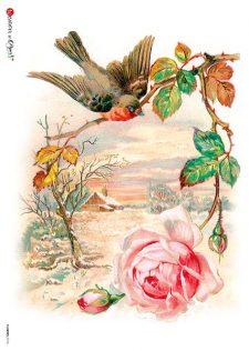 Decoupage Rice Paper Sheet | Robin & Pink Rose