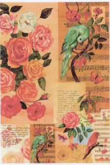 Decoupage Rice Paper Sheet | Roses Birds Music