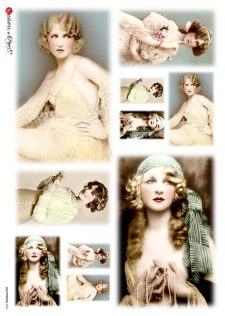 Decoupage Rice Paper Sheet | Vintage Photos of Ladies of the Golden Twenties