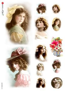 Decoupage Rice Paper Sheet | Vintage Photos of Young Ladies