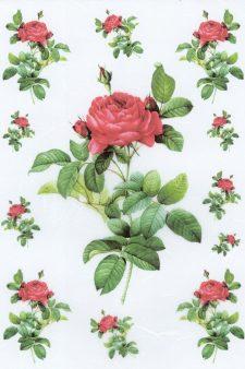 Decoupage Rice Paper | Vintage Joseph Red Rose