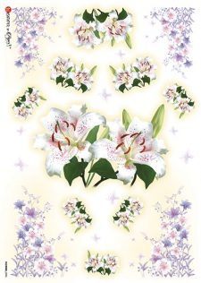 Decoupage Rice Paper from Italy | White Lilies