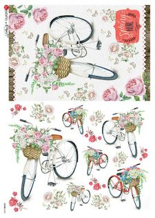 Decoupage Rice Paper Vintage Bike with Rose Basket