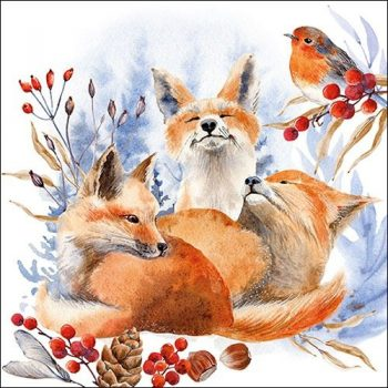 Decoupage Winter Napkins | Foxes & Robin in Snow