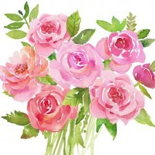 Event Paper Napkins Pink Roses in Watercolor